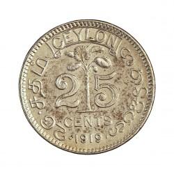 Ceylan 25  Cts.  1919. B. AG. 2,92gr. (George V). Ø18mm. EBC+/SC-. KM. 105 a