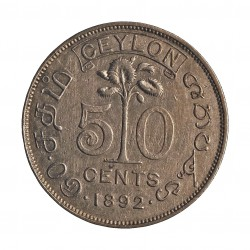 Ceylan 50  Cts.  1892. AG. 5,832gr. Ley:0,800. (Victoria). Ø23mm. MBC-/MBC. KM. 96