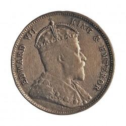 Ceylan 50  Cts.  1903. AG. 5,832gr. Ley:0,800. (Eduardo VII). Ø23mm. MBC-/MBC. KM. 99