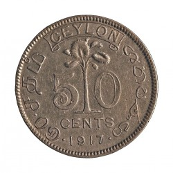 Ceylan 50  Cts.  1917. AG. 5,832gr. Ley:0,800. (George V). Ø23mm. MBC-/MBC. KM. 109