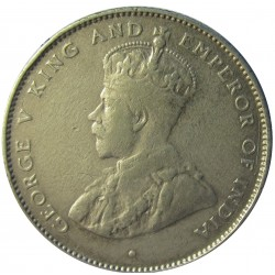 Ceylan 50  Cts.  1925. AG. 5,832gr. Ley:0,800. (George V). Ø23mm. MBC. KM. 109 a