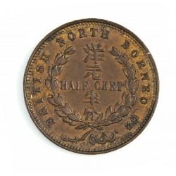 Borneo del Norte-(Britanico) ½ Cent. 1891. Heaton. CU. 4,6gr. Ø23mm. EBC+/SC-. (Patina oscura). KM. 1