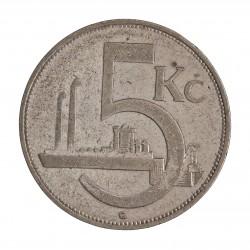 Checoslovaquia 5 Korun. 1929. AG. 7gr. Ley:0,500. (Industria). Ø27mm. MBC. KM. 11
