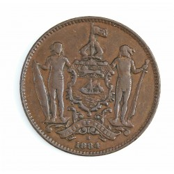 Borneo del Norte-(Britanico) 1 Cent. 1884. CU. 9,4gr. Ø29mm. MBC-. (Patina oscura). KM. 2