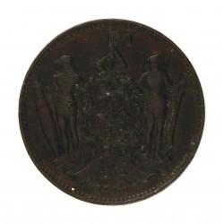 Borneo del Norte-(Britanico) 1 Cent. 1886. CU. 9,4gr. Ø29mm. MBC-. (Patina oscura). KM. 2