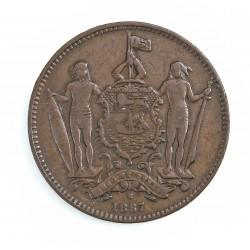 Borneo del Norte-(Britanico) 1 Cent. 1887. CU. 9,4gr. Ø29mm. MBC-. (Patina oscura). KM. 2