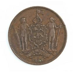 Borneo del Norte-(Britanico) 1 Cent. 1888. CU. 9,4gr. Ø29mm. MBC-. (Patina oscura). KM. 2