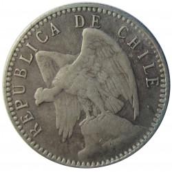 Chile 5 Ctvo. 1908. Santiago de Chile. AG. 1gr. Ley:0,500. Ø14mm. MBC/MBC+. KM. 155.2a