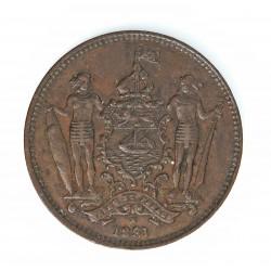 Borneo del Norte-(Britanico) 1 Cent. 1891. CU. 9,4gr. Ø29mm. MBC+. (Patina oscura). KM. 2