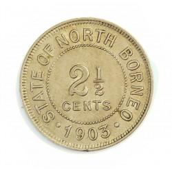 Borneo del Norte-(Britanico) 2,5 Cent. 1903. CUNI. 3,2gr. Ø25mm. EBC+/SC-. (Pqño.gpcto.cto.). RARO/A. KM. 4