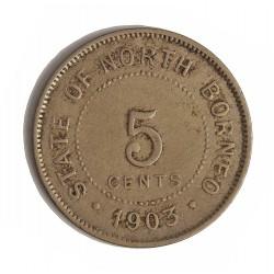 Borneo del Norte-(Britanico) 5 Cent. 1903. CUNI. 7,1gr. Ø28mm. MBC-/MBC. KM. 5