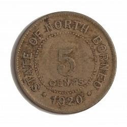 Borneo del Norte-(Britanico) 5 Cent. 1920. CUNI. 7,1gr. Ø28mm. MBC-. KM. 5