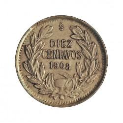 Chile 10 Ctvo. 1908. Santiago de Chile. AG. 1,5gr. Ley:0,400. Ø17mm. EBC+/SC-. KM. 156.2 a