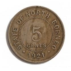 Borneo del Norte-(Britanico) 5 Cent. 1921. CUNI. 7,1gr. Ø28mm. MBC/MBC+. KM. 5