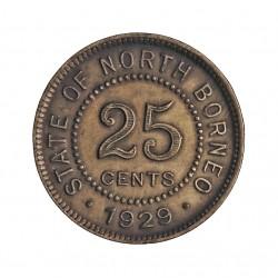 Borneo del Norte-(Britanico) 25 Cent. 1929. AG. 2,83gr. Ley:0,500. Ø18mm. SC-/SC. (Patina). RARO/A. KM. 6