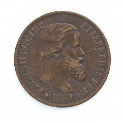 Brasil 20 Reis. 1869. AE. 7gr. Ø25mm. MBC-/MBC. KM. 474