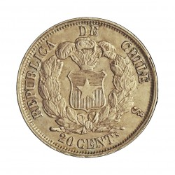 Chile 20 Ctvo. 1866. Sº(Santiago). AG. 4,6gr. Ley:0,900. Ø23mm. EBC/EBC+. KM. 135