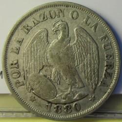 Chile 20 Ctvo. 1880. Sº(Santiago). AG. 5gr. Ley:0,900. Ø23mm. MBC-/MBC. KM. 138.2