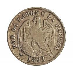 Chile 20 Ctvo. 1891. Sº(Santiago). AG. 4gr. Ley:0,500. Ø23mm. MBC-/MBC. KM. 138.4