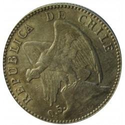 Chile 20 Ctvo. 1899. Sº(Santiago). AG. 4gr. Ley:0,500. Ø21mm. EBC+/SC-. KM. 151.2