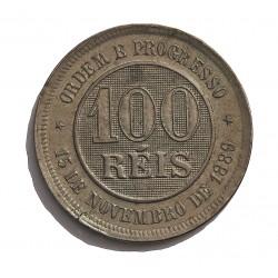 Brasil 100 Reis. 1889. (15 de Nvbre.). CUNI. 9,9gr. Ø27mm. EBC/EBC+. KM. 492