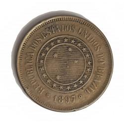 Brasil 100 Reis. 1897. (15 de Nvbre.). CUNI. 9,6gr. Ø27mm. MBC-/MBC. KM. 492