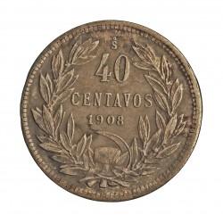 Chile 40 Ctvo. 1908. Santiago de Chile. AG. 6gr. Ley:0,400. Ø25mm. EBC-/EBC. KM. 163