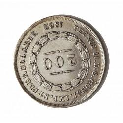 Brasil 200 Reis. 1862. AG. 2,55gr. Ley:0,917. Ø19mm. EBC/EBC+. KM. 469