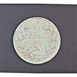 Chile 1 Pesos. 1910. Santiago de Chile. AG. 12gr. Ley:0,900. Ø30mm. MBC-. KM. 152.3