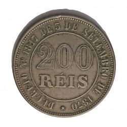 Brasil 200 Reis. 1871. (3 de Sepbre.). CUNI. 15gr. Ø31mm. MBC-/MBC. KM. 478