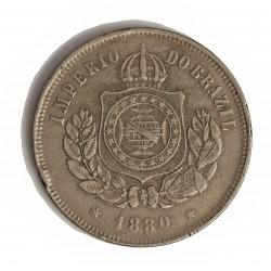 Brasil 200 Reis. 1880. (3 de Sepbre.). CUNI. 15gr. Ø31mm. MBC-/MBC. (Gpcto.cto.). KM. 478