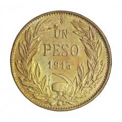 Chile 1 Pesos. 1917. Santiago de Chile. AG. 9gr. Ley:0,720. Ø28mm. SC-/SC. (Patina amarillenta). KM. 152.4