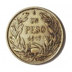 Chile 1 Pesos. 1917. Santiago de Chile. AG. 9gr. Ley:0,720. Ø28mm. MBC+. KM. 152.4