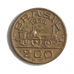 Brasil 200 Reis. 1936. CUNI. 6gr. (V.de Maua-Constructor del Ferrocarril). Ø23mm. EBC+. (Lev.marquitas). KM. 537