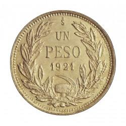 Chile 1 Pesos. 1921. Santiago de Chile. AG. 9gr. Ley:0,500. Ø29mm. SC-/SC. KM. 152.5