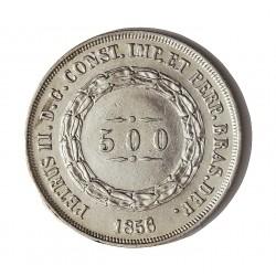 Brasil 500 Reis. 1856. /5. AG. 6,375gr. Ley:0,917. Ø26mm. EBC+. KM. 464