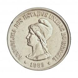 Brasil 500 Reis. 1889. AG. 6,375gr. Ley:0,917. Ø26mm. EBC-/EBC. KM. 494