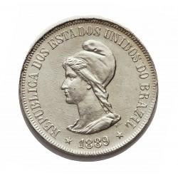 Brasil 500 Reis. 1889. AG. 6,375gr. Ley:0,917. Ø26mm. SC-/SC. KM. 494