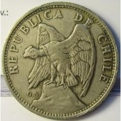 Chile 1 Pesos. 1925. Santiago de Chile. AG. 9gr. Ley:0,500. Ø29mm. MBC+/EBC-. KM. 152.6