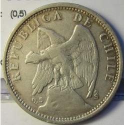 Chile 1 Pesos. 1927. Santiago de Chile. AG. 9gr. Ley:0,500. (0,5). Ø29mm. MBC/MBC+. KM. 171.2