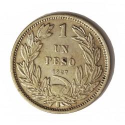 Chile 1 Pesos. 1927. Santiago de Chile. AG. 9gr. Ley:0,500. (0.5). Ø29mm. MBC/MBC+. KM. 171.2