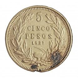 Chile 5 Pesos. 1927. Santiago de Chile. AG. 25gr. Ley:0,900. Ø37mm. SC-. KM. 137.1