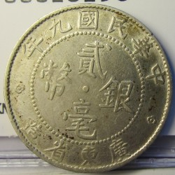 China.-Imperio 20 Cent. 1920. (Año 9). AG. 5,4gr. Ley:0,800. Anv: Hung HuaMint Kuo (Año) Nien. Rev: KWUANG-TUNG PROVINCIA. Ø23