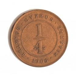 Chipre ¼  Piastras. 1905. AE. 3gr. Ley:0,000. Ø20,5mm. BC+/MBC-. (Marquitas de punzon anv.). MUY ESCASO/A. KM. 1.2