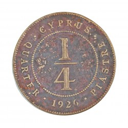 Chipre ¼  Piastras. 1926. AE. 3gr. Ley:0,000. Ø20,5mm. MBC-/MBC. KM. 16