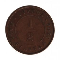 Chipre ½  Piastras. 1908. CU. 6gr. Ø27mm. BC+/MBC-. MUY RARO/A. KM. 11