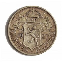Chipre 18  Piastras. 1921. AG. 11,31gr. Ley:0,925. Ø29mm. MBC-/MBC. KM. 14