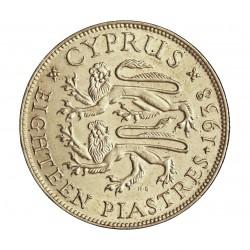 Chipre 18  Piastras. 1938. AG. 11,31gr. Ley:0,925. Ø29mm. EBC+/SC-. KM. 26