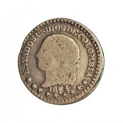 Colombia ½  Decimo. 1874. /1. P-(Popayan). AG. 1,25gr. Ley:0,835. (KM. no describe el 4 sobre 1). Ø13mm. BC+/MBC-. RARO/A. KM. 1