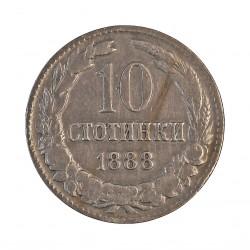 Bulgaria 10  Stotinki. 1888. CUNI. 4gr. Ø19mm. MBC-. KM. 10